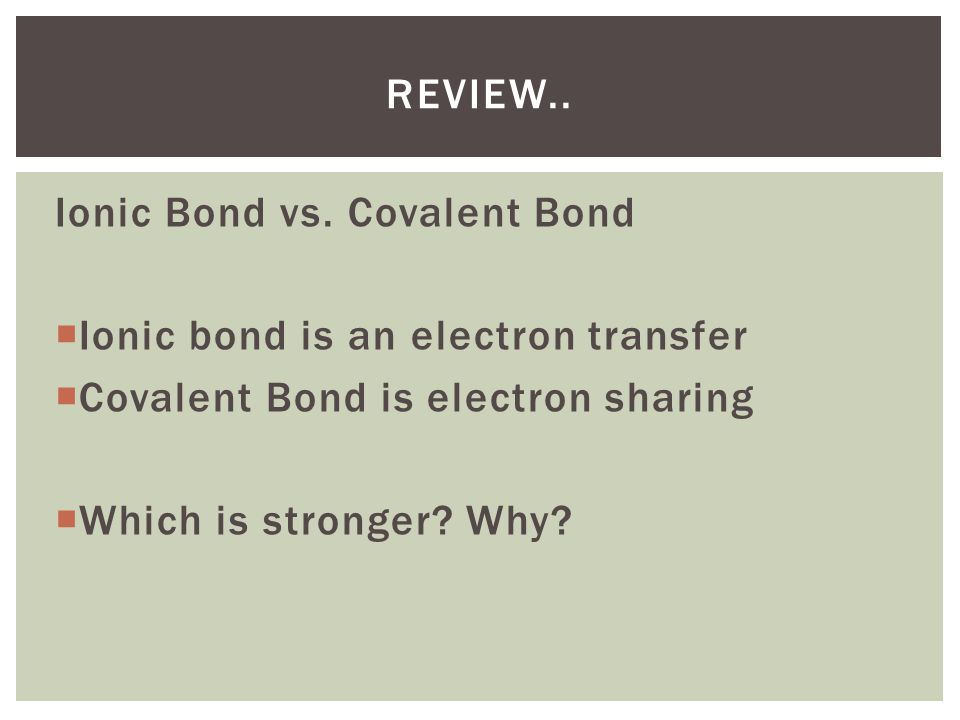 Review.. Ionic Bond vs. Covalent Bond. Ionic bond is an electron transfer. Covalent Bond is electron sharing.