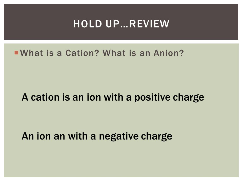 A cation is an ion with a positive charge
