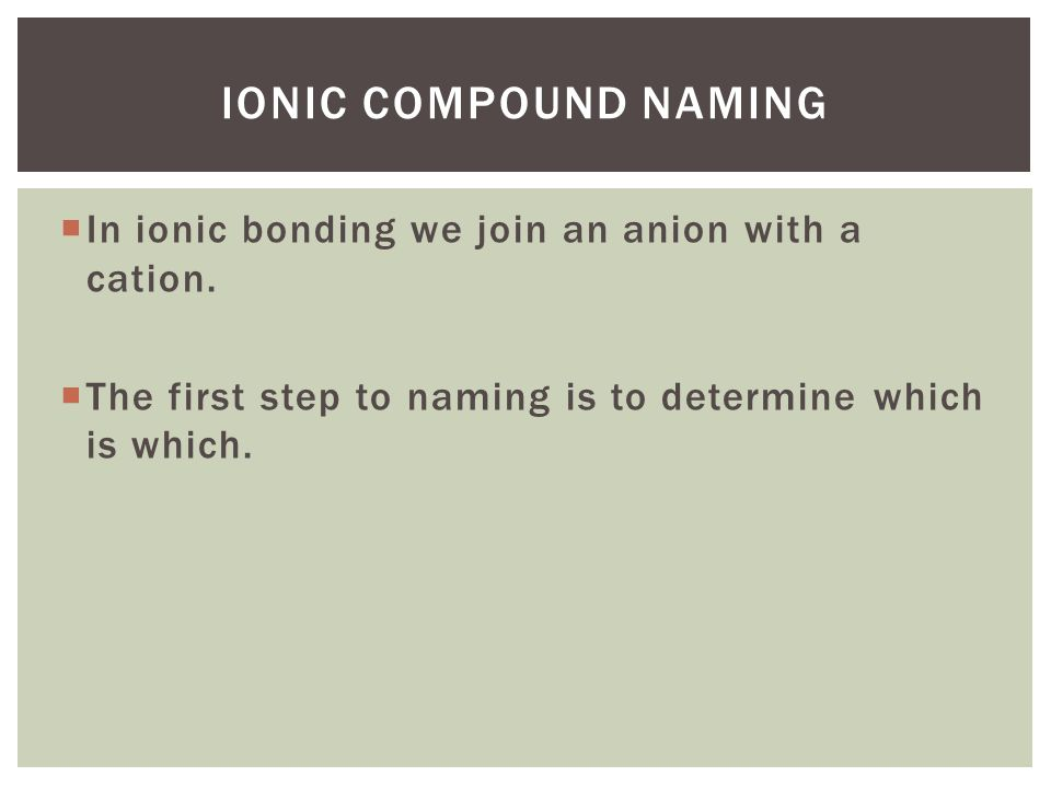 Ionic compound naming In ionic bonding we join an anion with a cation.