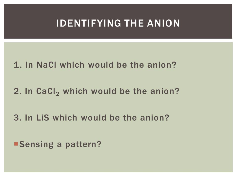Identifying the anion 1. In NaCl which would be the anion