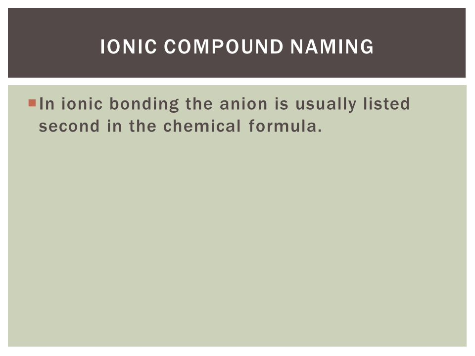 Ionic Compound naming In ionic bonding the anion is usually listed second in the chemical formula.