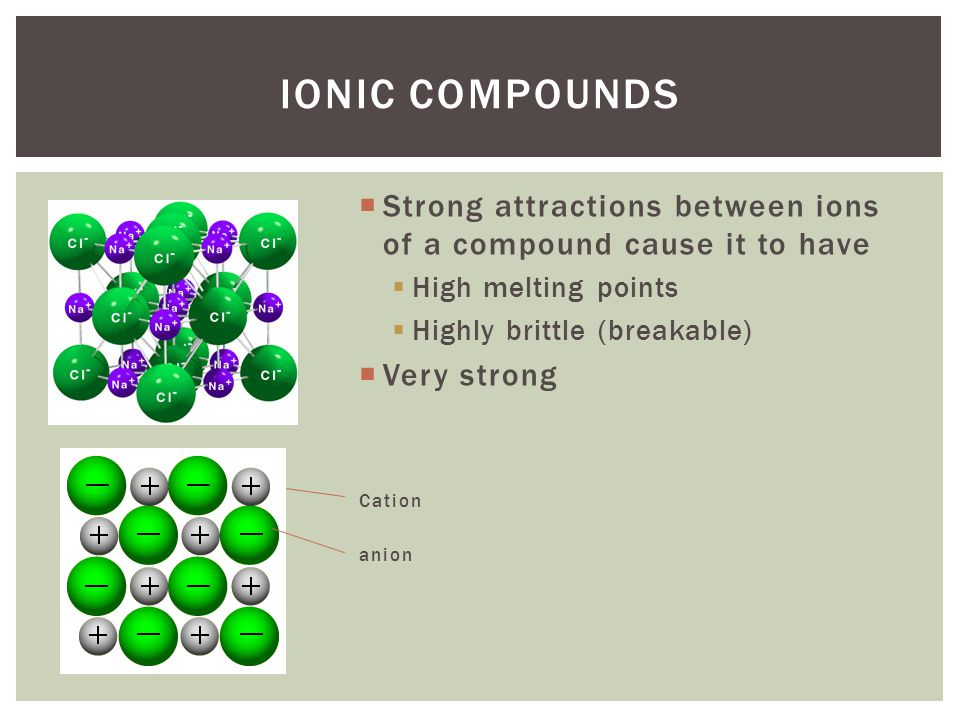 Ionic Compounds Strong attractions between ions of a compound cause it to have. High melting points.
