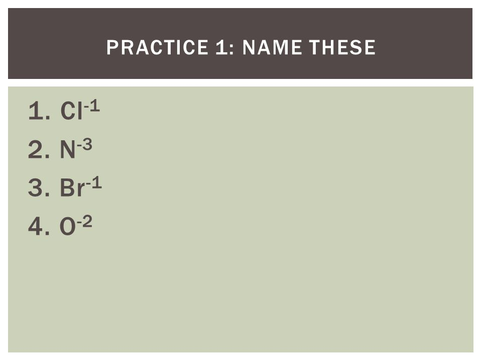Practice 1: Name these 1. Cl-1 2. N-3 3. Br-1 4. O-2