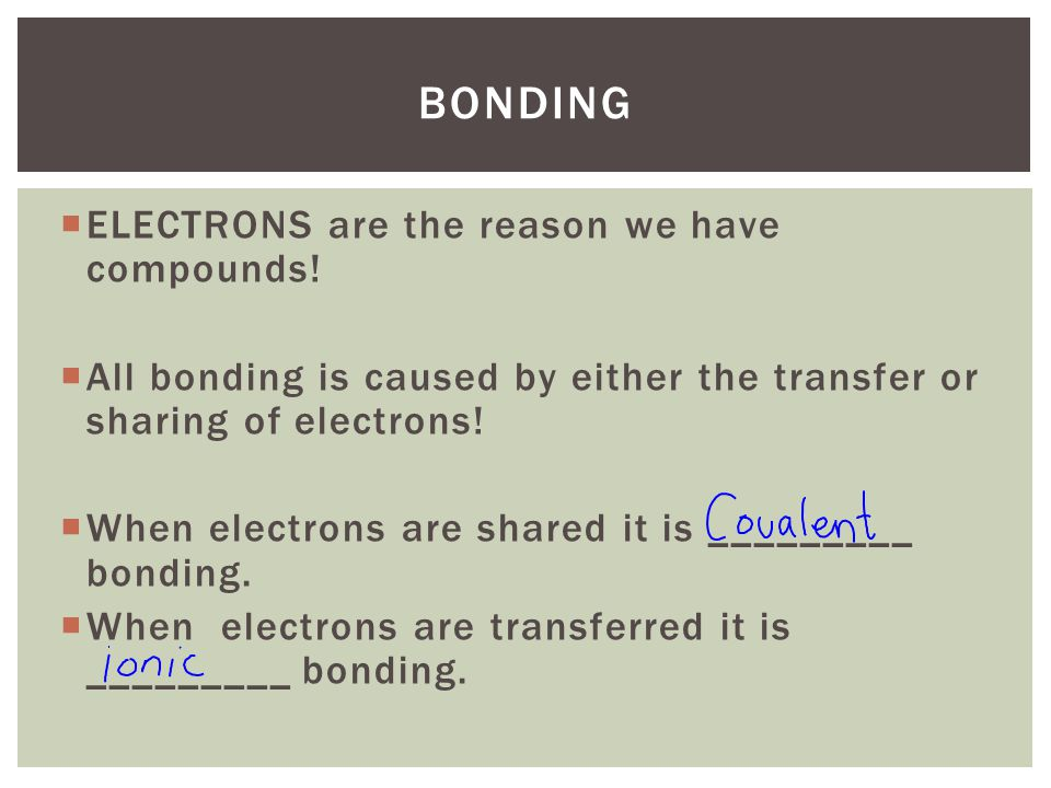 Bonding ELECTRONS are the reason we have compounds!