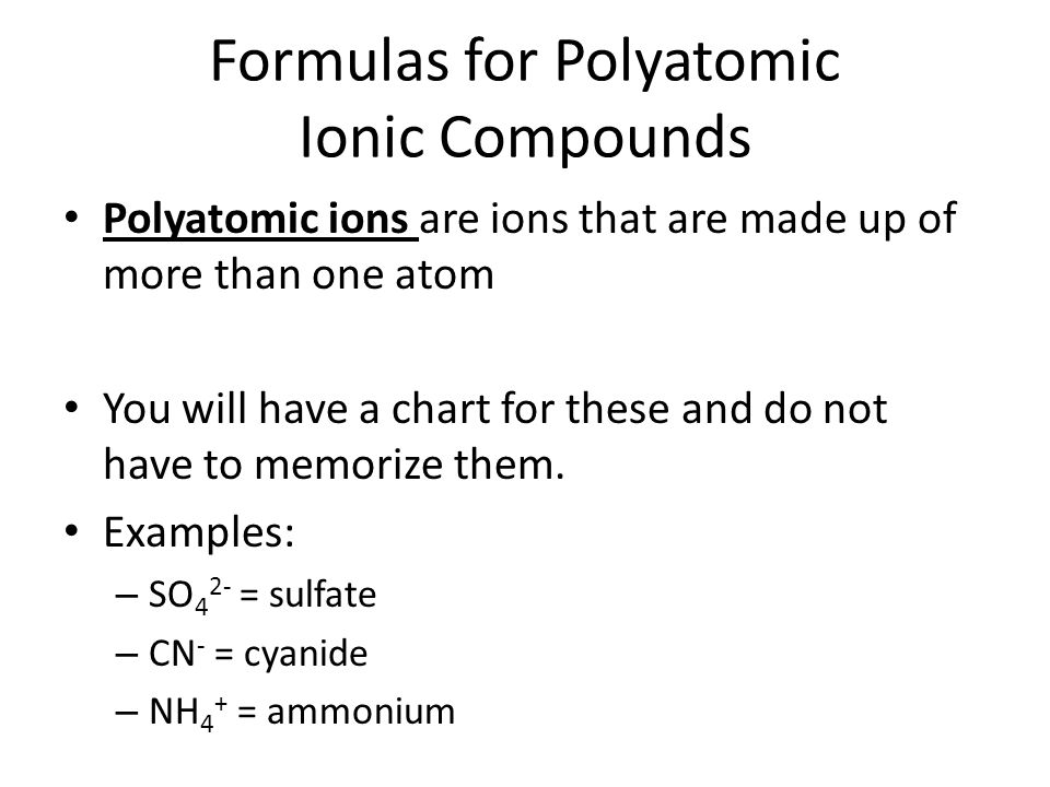 Formulas for Polyatomic Ionic Compounds
