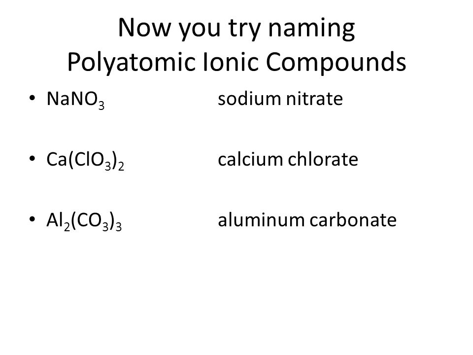 Now you try naming Polyatomic Ionic Compounds