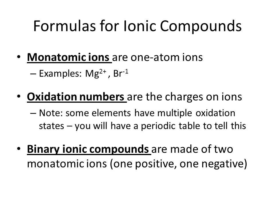 9 formulas for ionic compounds - Periodic Table With Charges And Oxidation Numbers