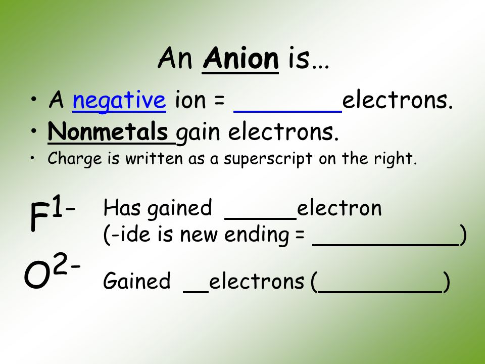 F1- O2- An Anion is… A negative ion = electrons.