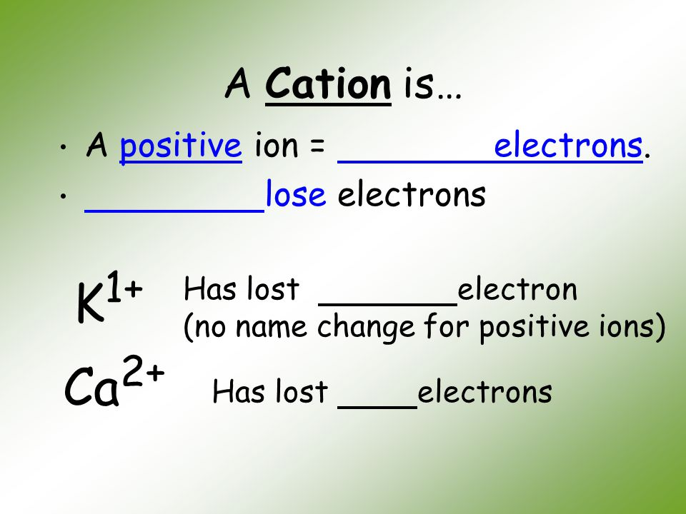 K1+ Ca2+ A Cation is… A positive ion = electrons. lose electrons