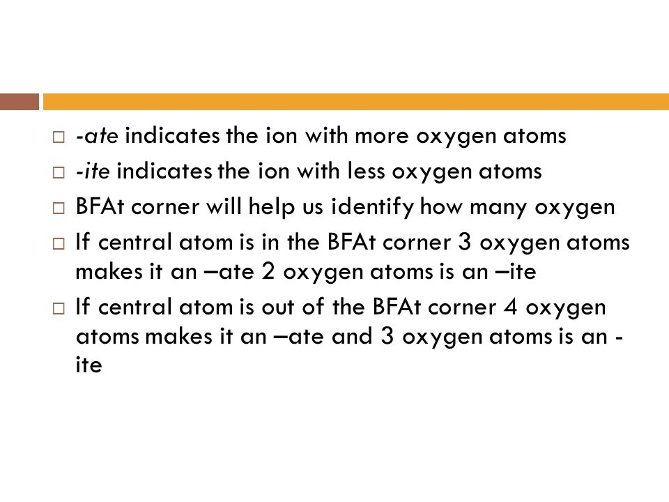 -ate indicates the ion with more oxygen atoms