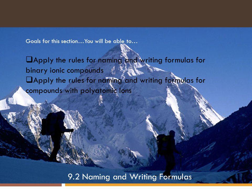 9.2 Naming and Writing Formulas
