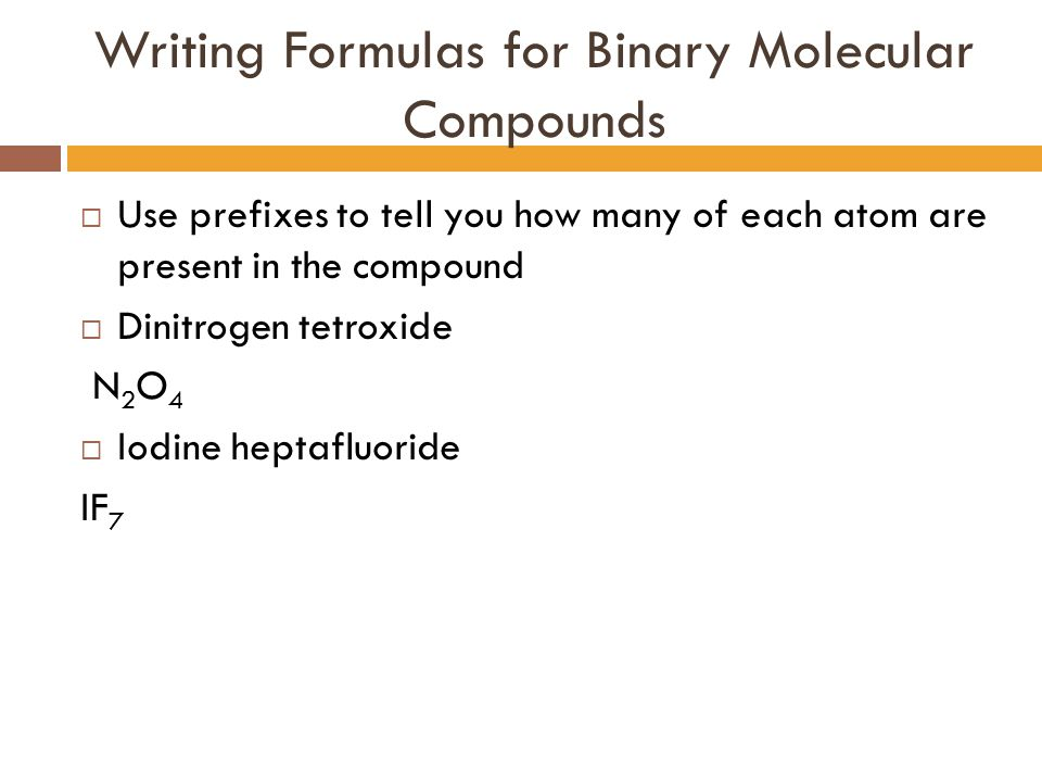 Writing Formulas for Binary Molecular Compounds