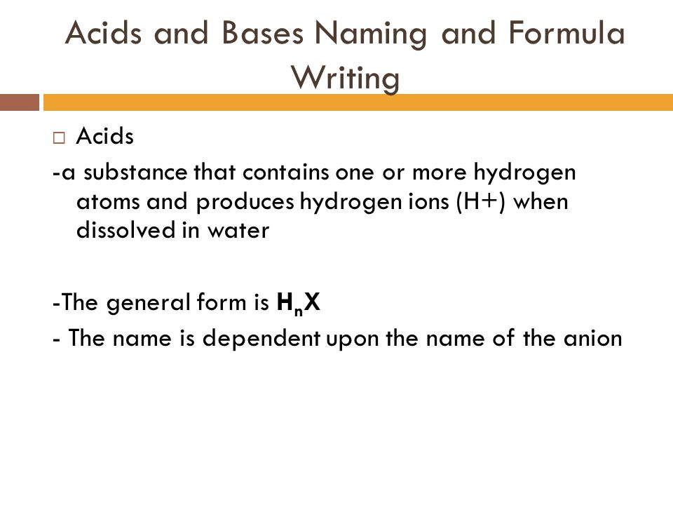Acids and Bases Naming and Formula Writing