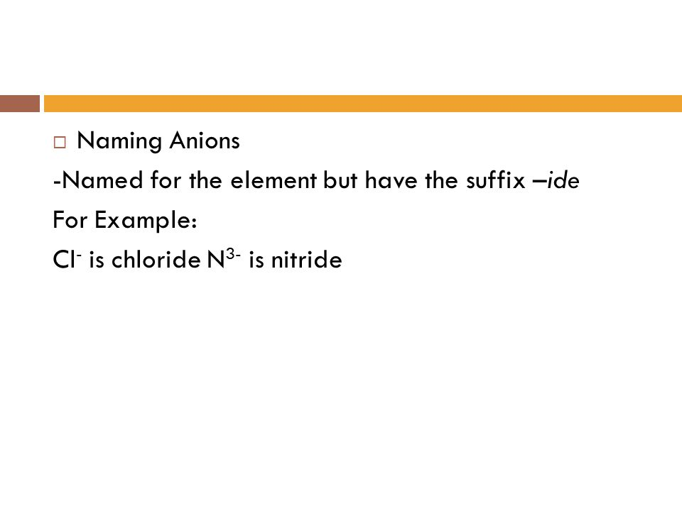 Naming Anions -Named for the element but have the suffix –ide.