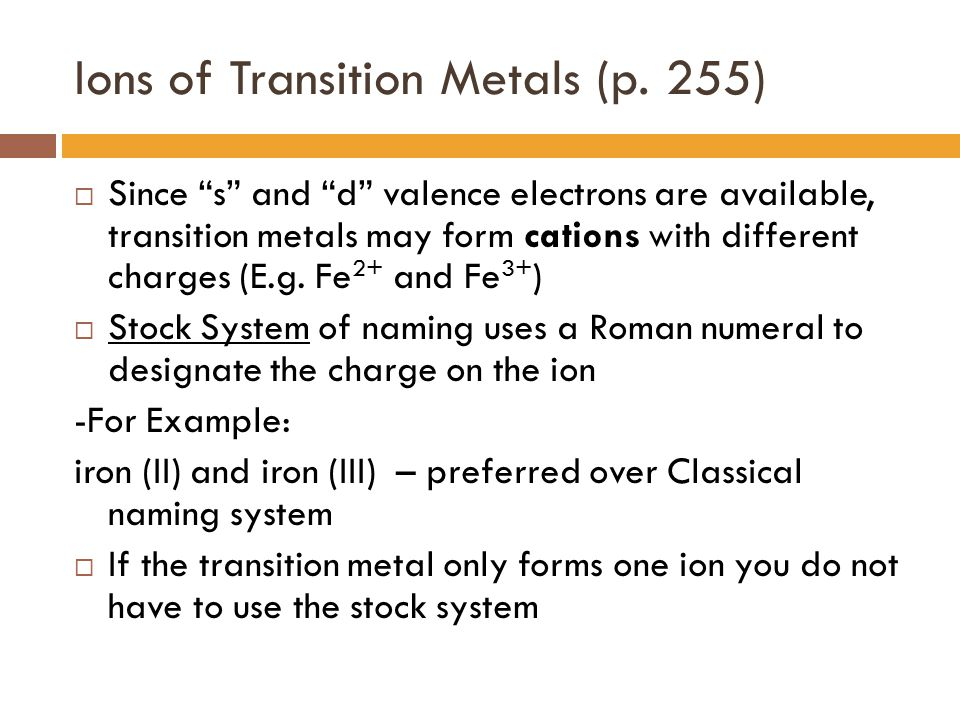 Ions of Transition Metals (p. 255)
