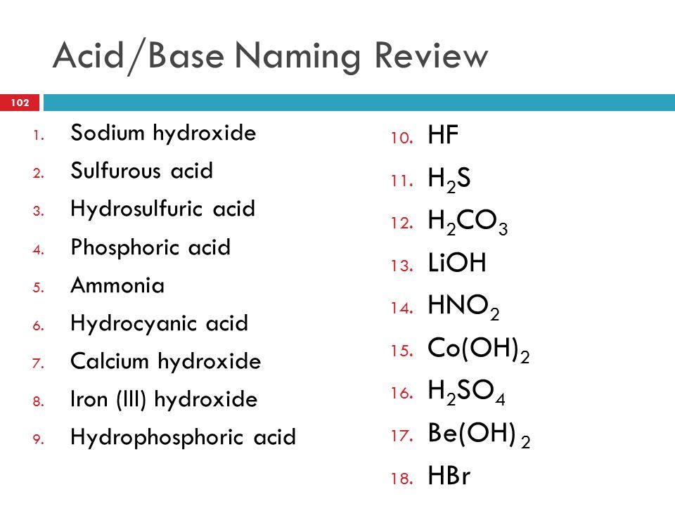 Acid/Base Naming Review