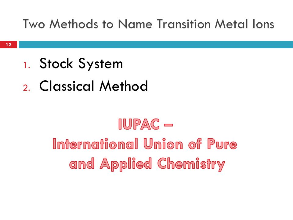 Two Methods to Name Transition Metal Ions