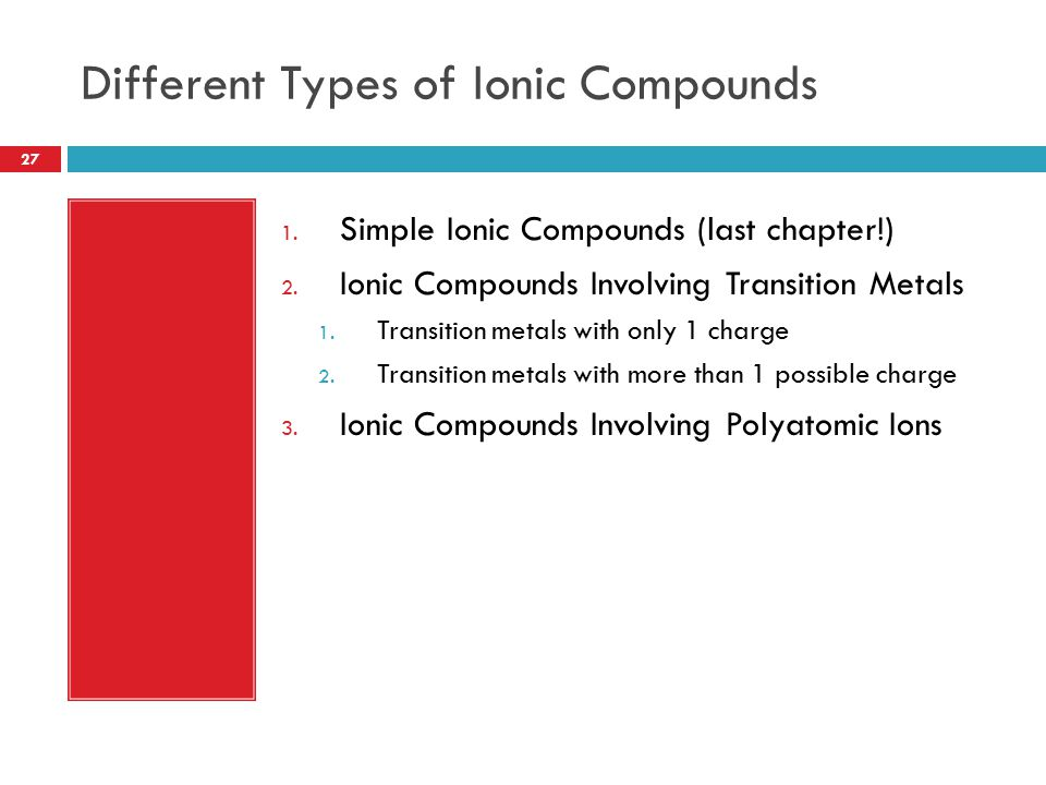 Different Types of Ionic Compounds