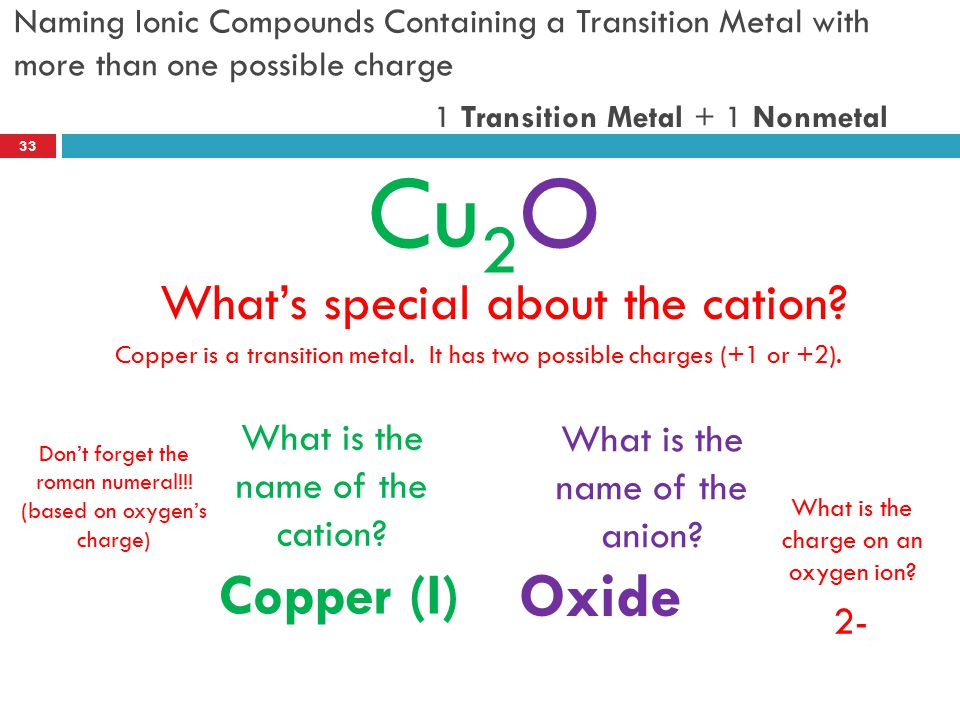 Cu2O Oxide Copper (I) What's special about the cation