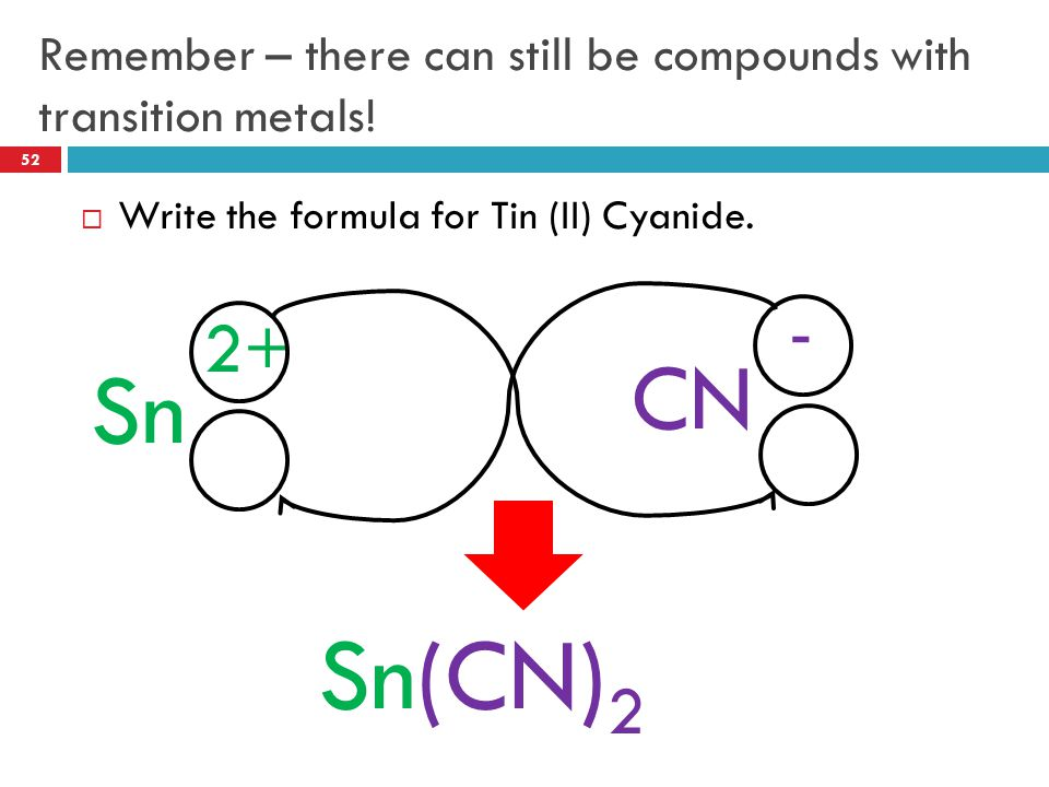 Remember – there can still be compounds with transition metals!