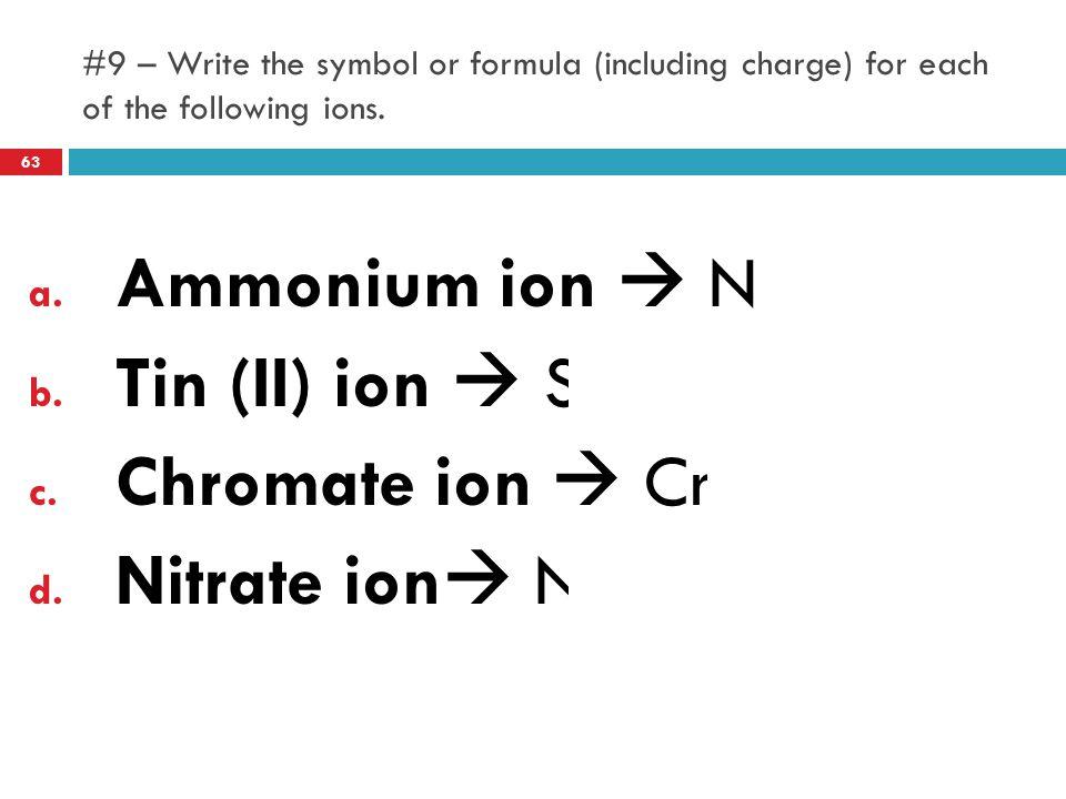 Ammonium ion  NH4+ Tin (II) ion  Sn2+ Chromate ion  CrO42-