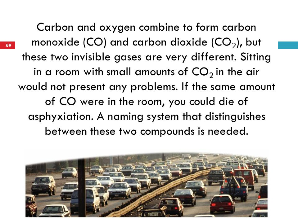 Carbon and oxygen combine to form carbon monoxide (CO) and carbon dioxide (CO2), but these two invisible gases are very different.