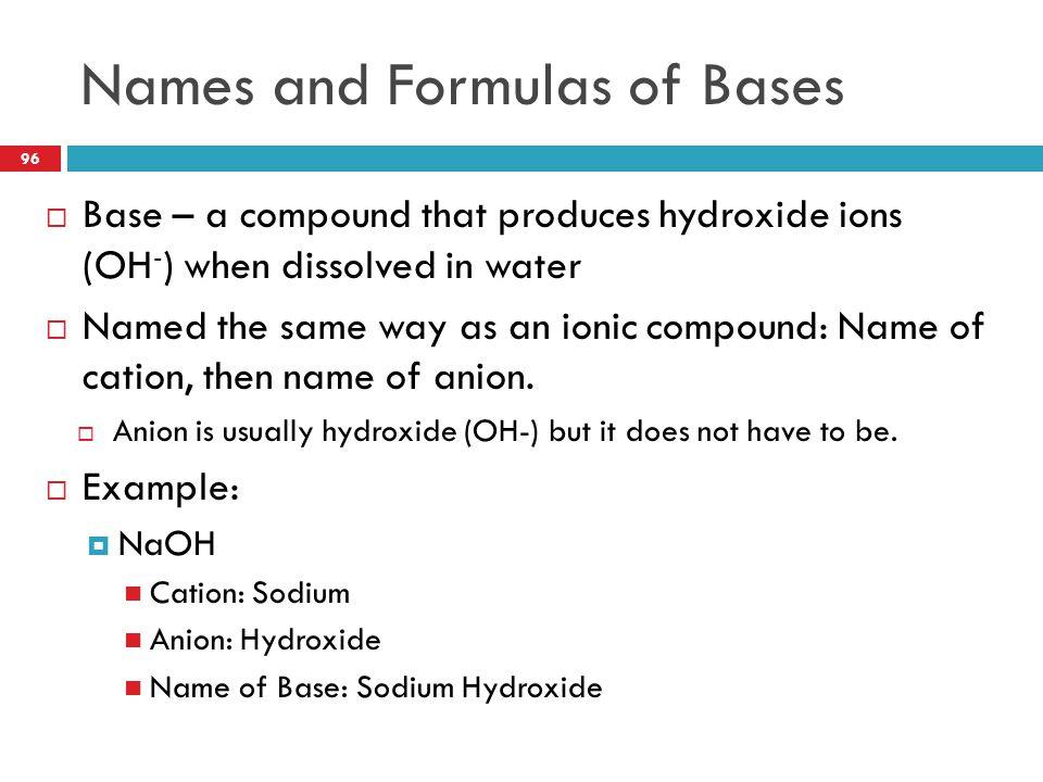 Names and Formulas of Bases