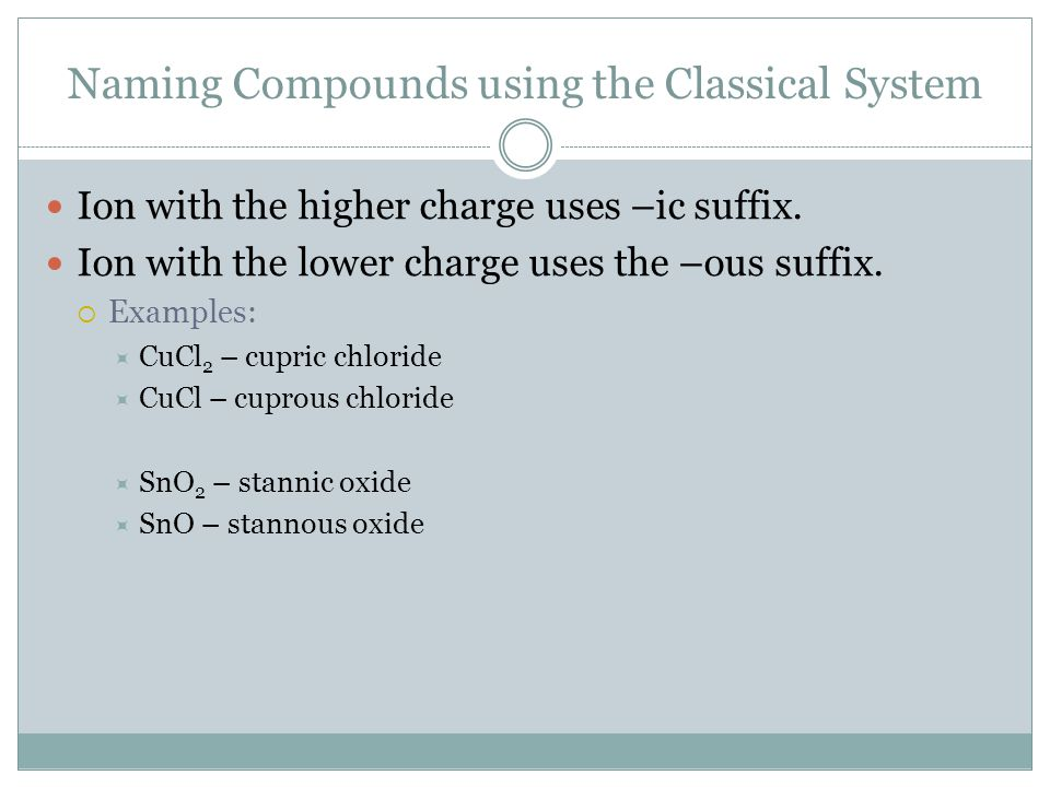 Naming Compounds using the Classical System