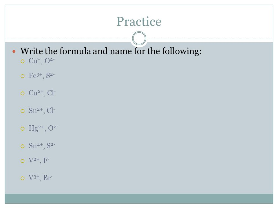 Practice Write the formula and name for the following: Cu+, O2-