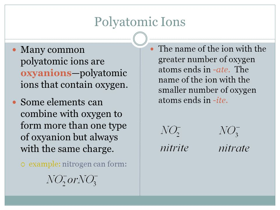 Polyatomic Ions Many common polyatomic ions are oxyanions—polyatomic ions that contain oxygen.