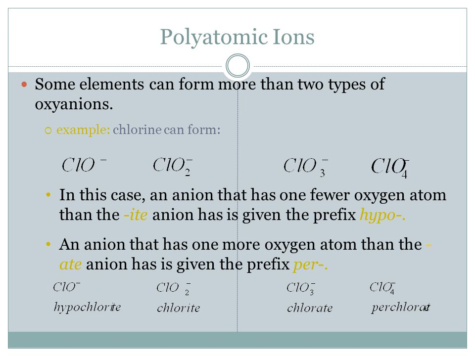 Polyatomic Ions Some elements can form more than two types of oxyanions. example: chlorine can form:
