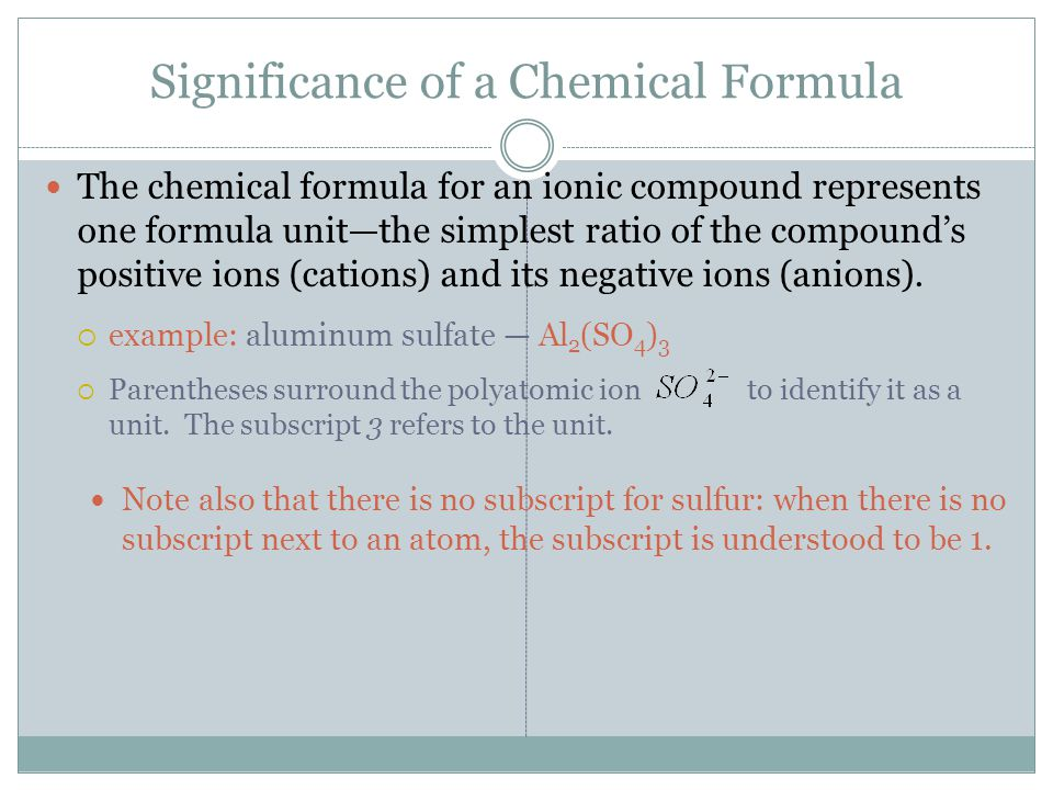 Significance of a Chemical Formula