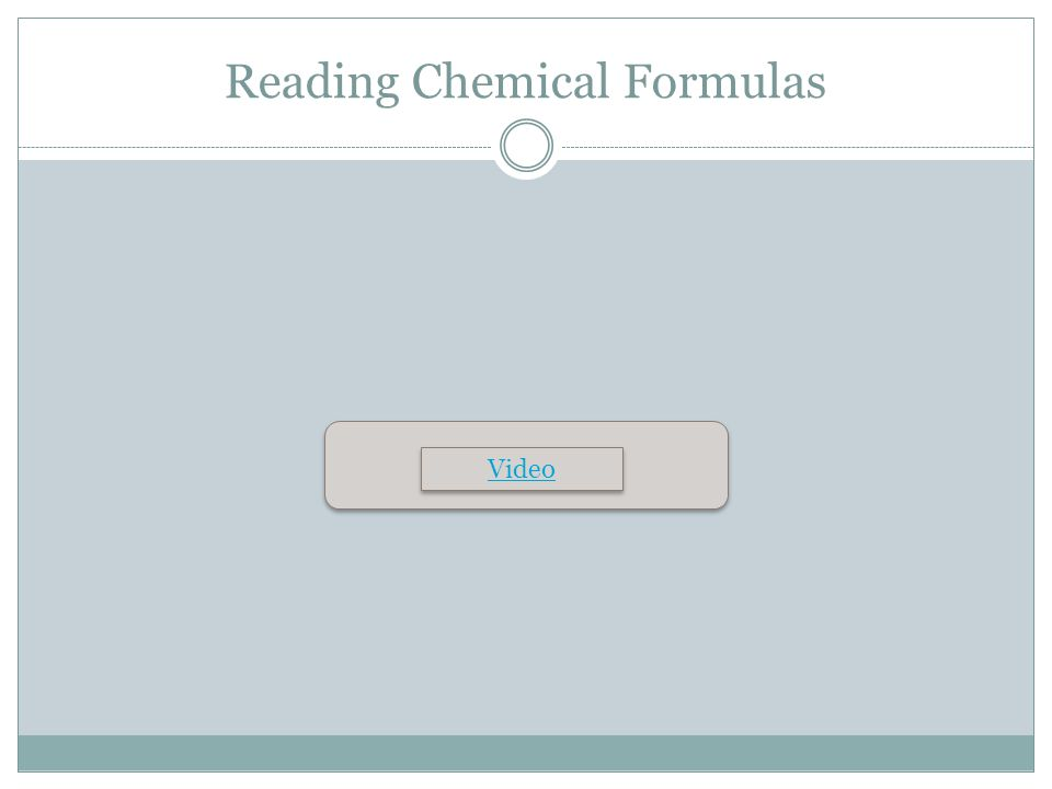 Reading Chemical Formulas