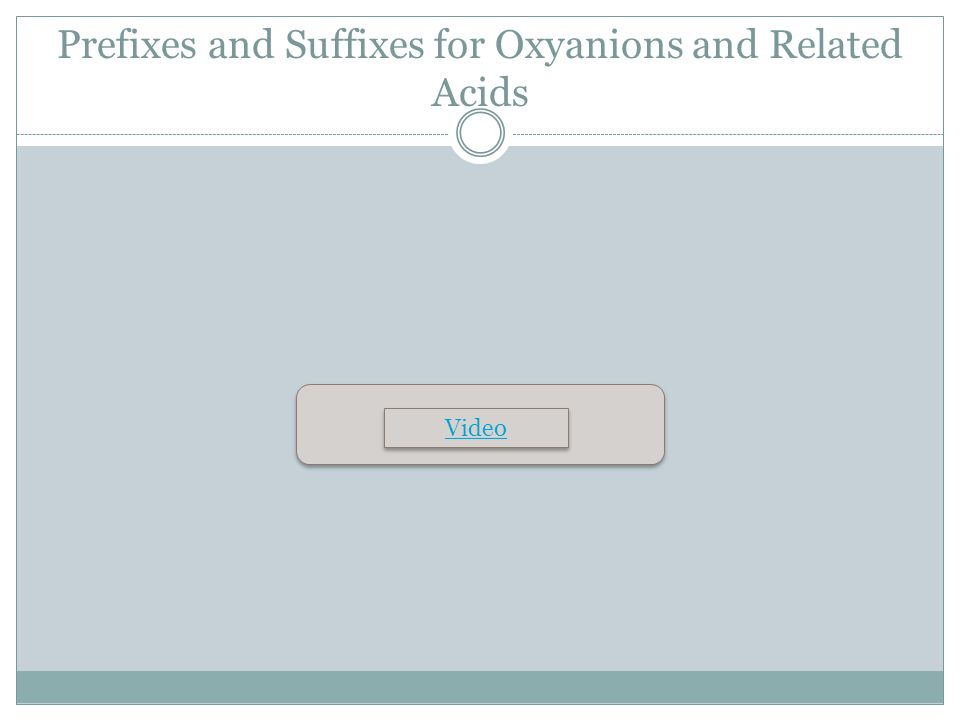 Prefixes and Suffixes for Oxyanions and Related Acids