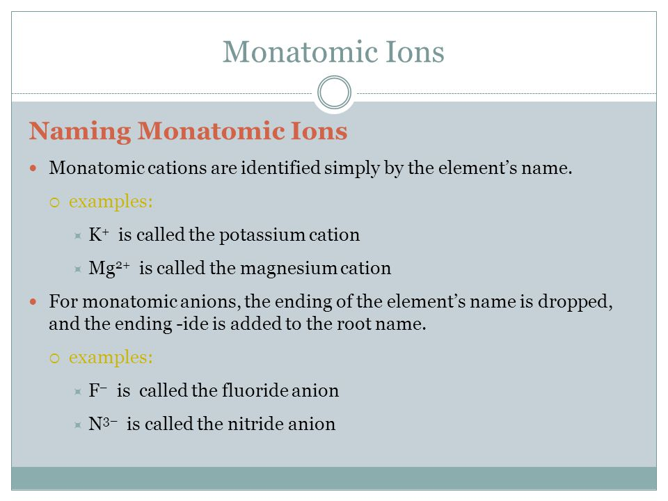 Monatomic Ions Naming Monatomic Ions