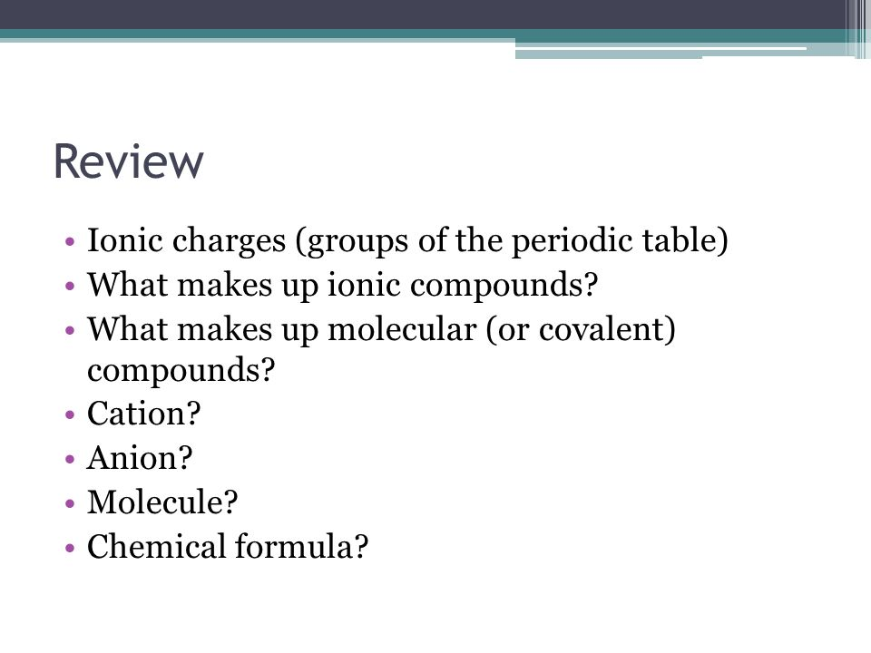 Review Ionic charges (groups of the periodic table)