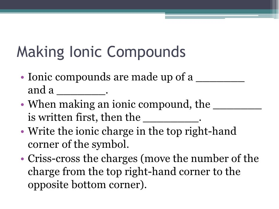 Making Ionic Compounds