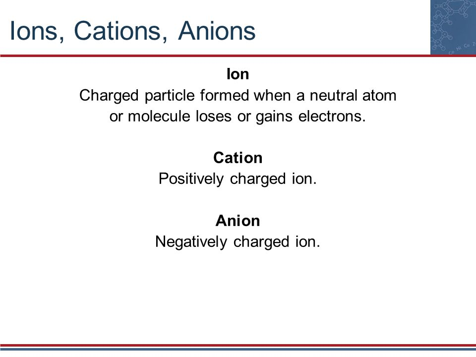 Ions, Cations, Anions Ion Charged particle formed when a neutral atom