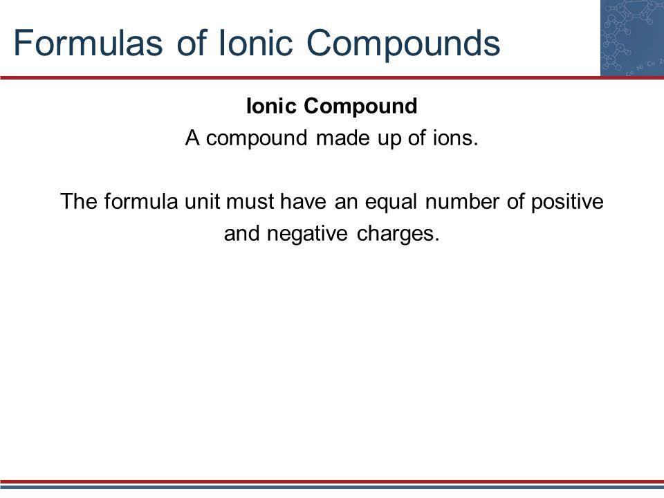 Formulas of Ionic Compounds