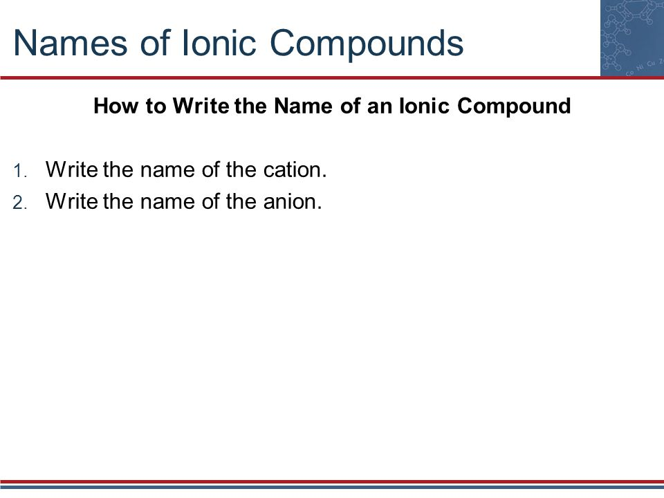 how to write ionic formaulae