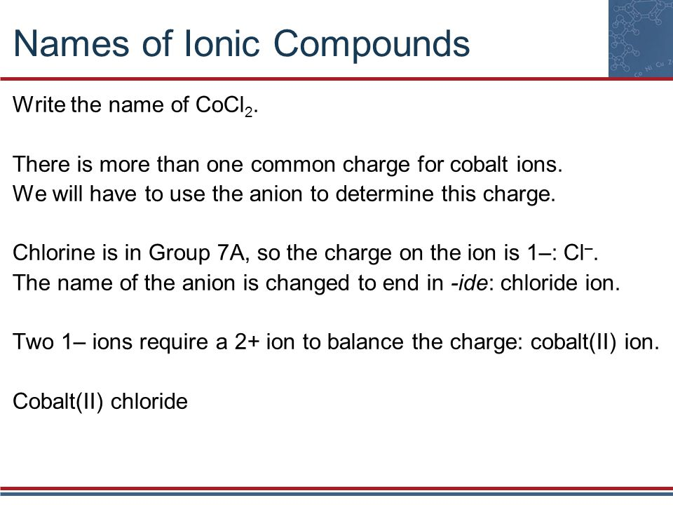 Names of Ionic Compounds