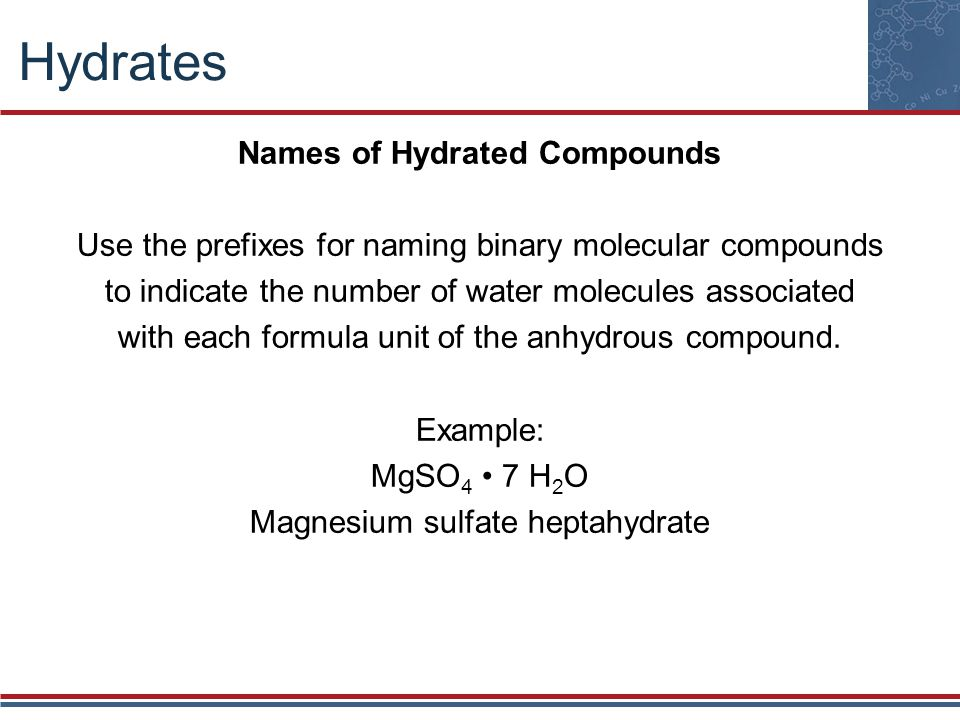 Hydrates Names of Hydrated Compounds