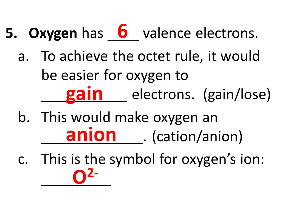 6 gain anion O2- Oxygen has ____ valence electrons.