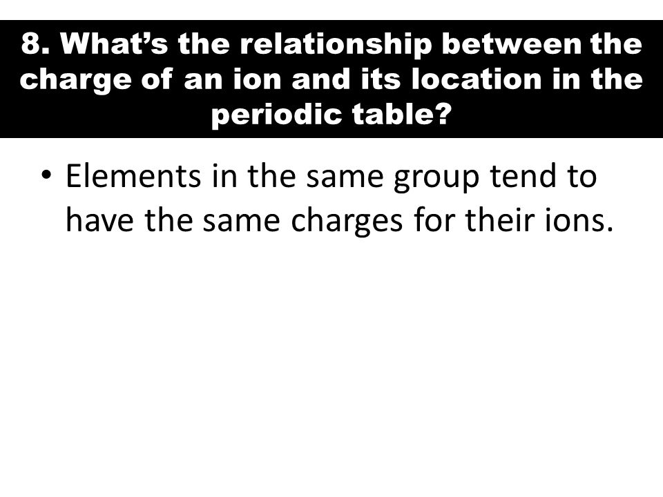 8. What's the relationship between the charge of an ion and its location in the periodic table