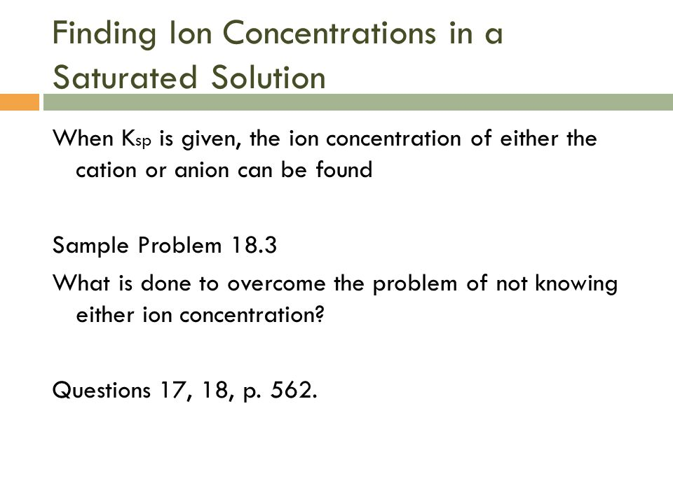 Finding Ion Concentrations in a Saturated Solution
