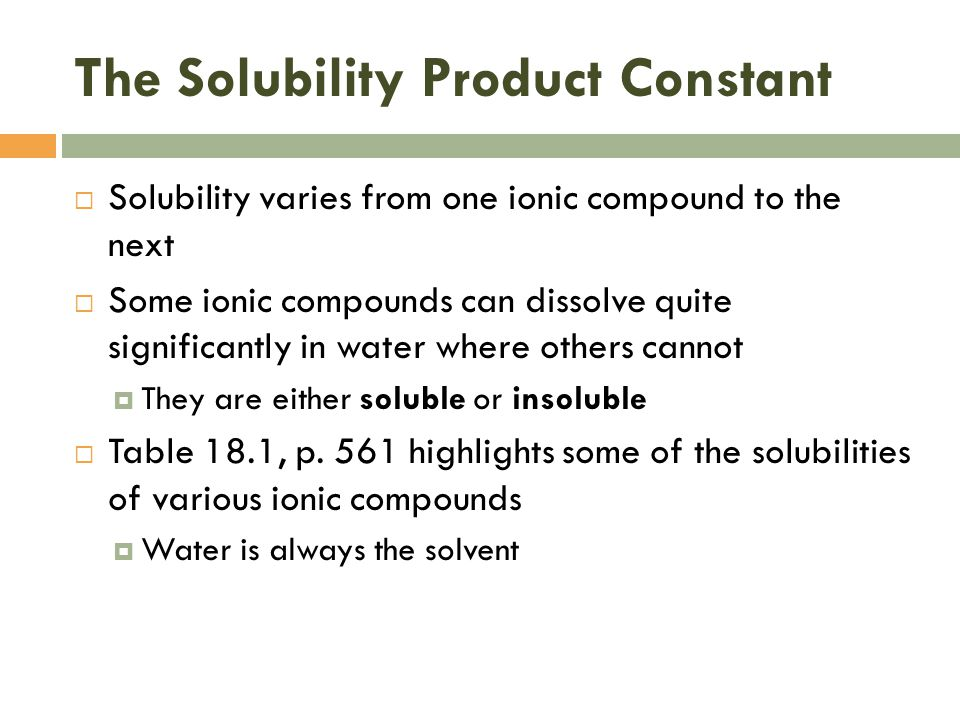 The Solubility Product Constant