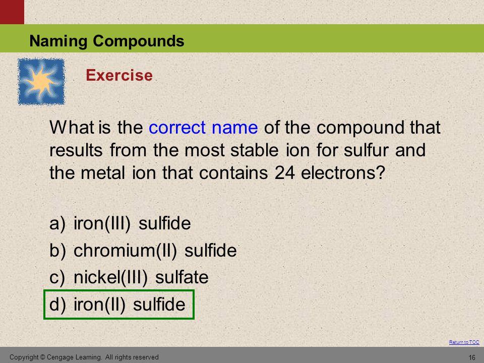 b) chromium(II) sulfide c) nickel(III) sulfate d) iron(II) sulfide