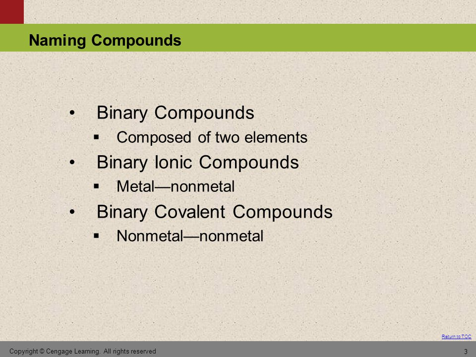 Binary Ionic Compounds Binary Covalent Compounds
