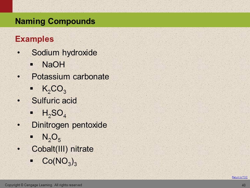 Examples Sodium hydroxide NaOH Potassium carbonate K2CO3 Sulfuric acid
