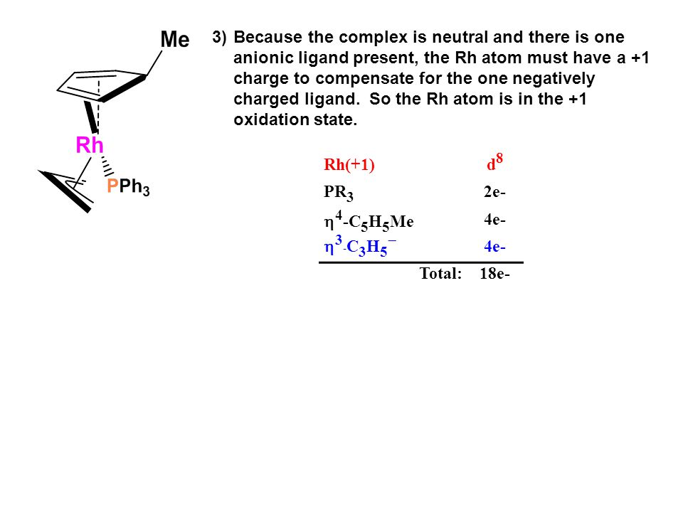 3) Because the complex is neutral and there is one anionic ligand present, the Rh atom must have a +1 charge to compensate for the one negatively charged ligand. So the Rh atom is in the +1 oxidation state.